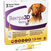 Ceva (Сева) VECTRA 3D (ВЕКТРА 3D) капли от блох и клещей для собак и щенков от 1,5-4 кг