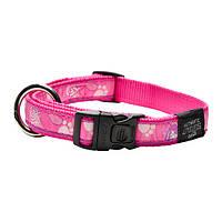 Ошейник для собак,Fancy dress Розовая лапка SIDE RELEASE COLLAR (Рогз) M: 26-40 см, фото 1