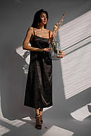 Сукня міді літня на бретелях шовк Армані чорний S-M L-XL | платье миди шелк Армани черный 42-44, 46-48