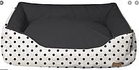 Диван для животного COZY IMPACT, прямоугольный, черно-белый в горох, 70x60x20см
