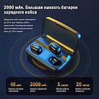 Беспроводные наушники с повербанком Topk T10 c уровнем заряда. Bluetooth 5.0 PowerBank 2000 мАч Черный