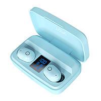 Беспроводные наушники с повербанком Topk T10 c уровнем заряда. Bluetooth 5.0. PowerBank 2000 мАч. Голубые
