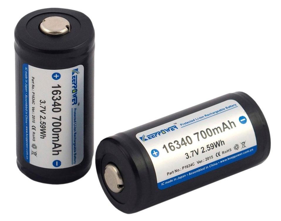 Аккумулятор 16340 Li-Ion Keeppower CR123 Protected, 700mAh, 4.2/3.7/2.7V