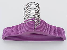 Плечики детские флокированные (бархатные, велюровые) фиолетового цвета, длина 29,5 см, в упаковке 10 штук, фото 2