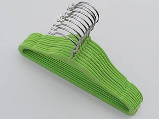 Плечики длина 29,5 см, в упаковке 10 штук. Детские флокированные (бархатные, велюровые) салатового цвета