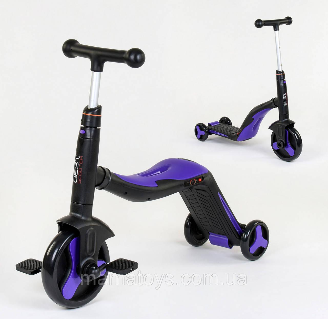 Детский Самокат Беговел велосипед 3 в 1 JT 3034 Best Scooter Синий Подсветка, 8 мелодий, колёса PU