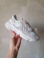 Женские кроссовки Adidas Ozweego Leather White/Brown, фото 1