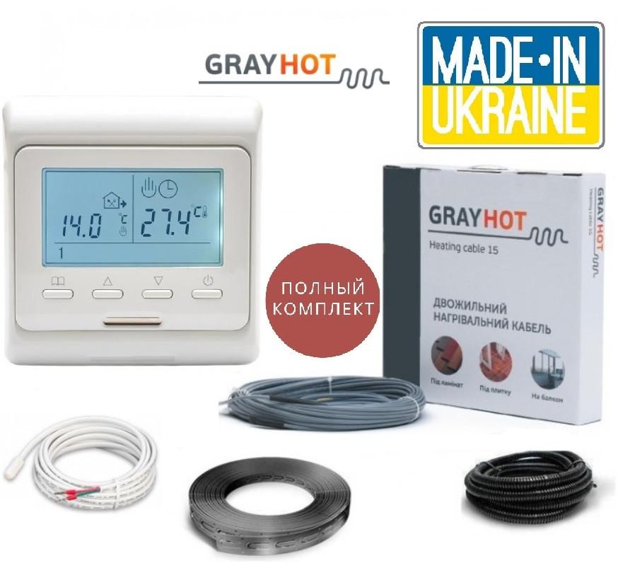 Теплый электро пол GRAYHOT 2,6м²-4,3м² 498Вт(34м) нагревательный кабель с программируемым терморегулятором Е51