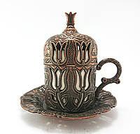 Турецкая чашка для кофе Тюльпан 60 мл, цвет: медь