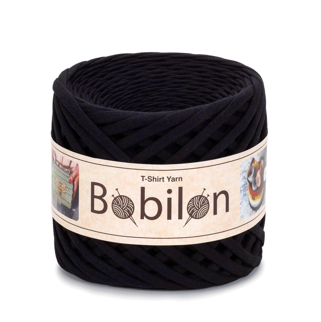 Трикотажная пряжа Bobilon Maxi (9-11 мм). Черный Black Passion