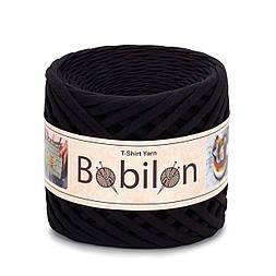 Трикотажная пряжа Bobilon Mini (5-7 мм). Черный Black Passion