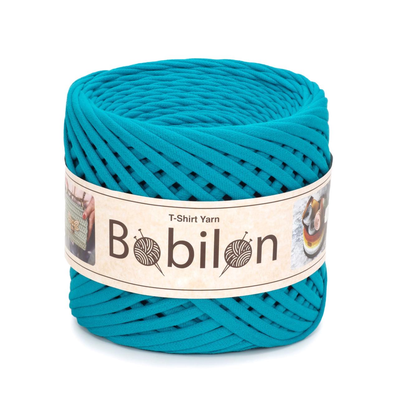 Трикотажная пряжа Bobilon Mini (5-7 мм). Blue Lagoon Голубая лагуна