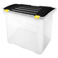 Ящик-контейнер для хранения Heidrun Dragon One пластиковый с крышкой и клипсами 58x36,5 h37,5см 54л (656)