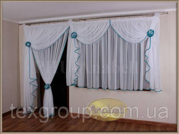 Тюль с ламбрекеном на окно с балконной дверью №203, фото 2