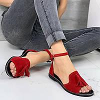 Босоножки женские красные замшевые с закрытой пяткой с кисточками низкий ход 37 38 размер