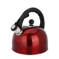 Чайник из нержавеющей стали со свистком Rainberg RB-625 3 л Красный (200428)