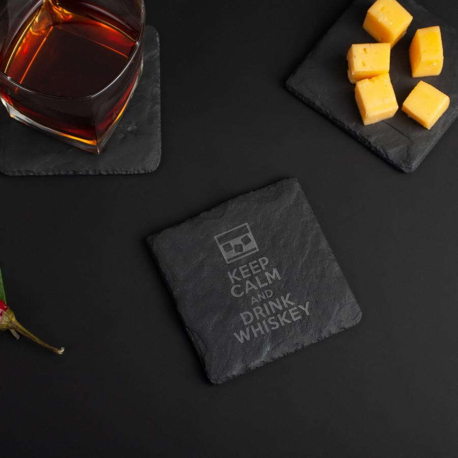 """Подставка из сланца """"Keep calm and drink whiskey"""""""