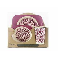 Набор детской посуды из бамбукового волокна Elite Lux Сердечки 5 предметов (200667)
