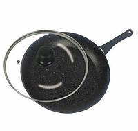Сковородка Benson BN-342 с крышкой 28 см Черная (300376)
