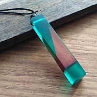 Ожерелье из смолы и дерева Зеленый (hub_PnEZ29046)