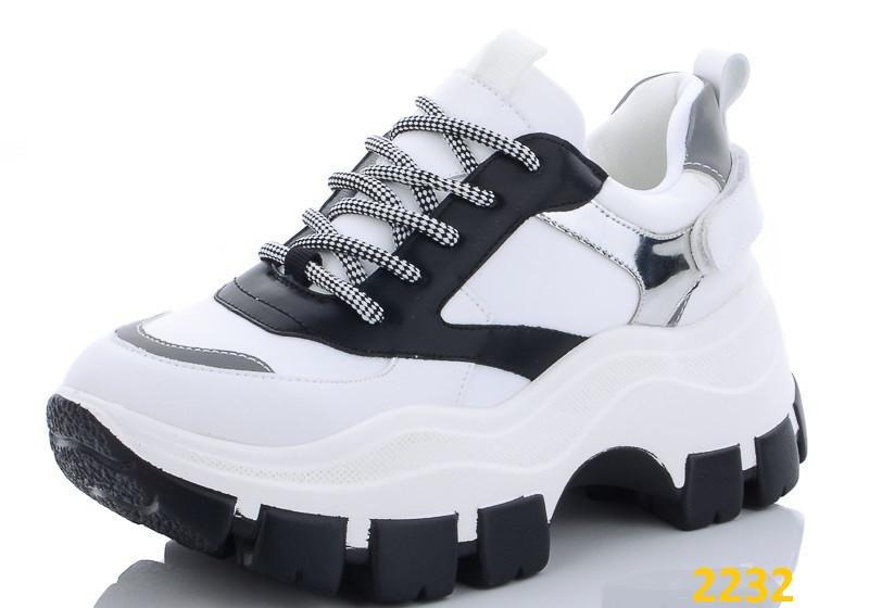 Кроссовки на высокой тракторной платформе бело-черные 39, 40 (2232)
