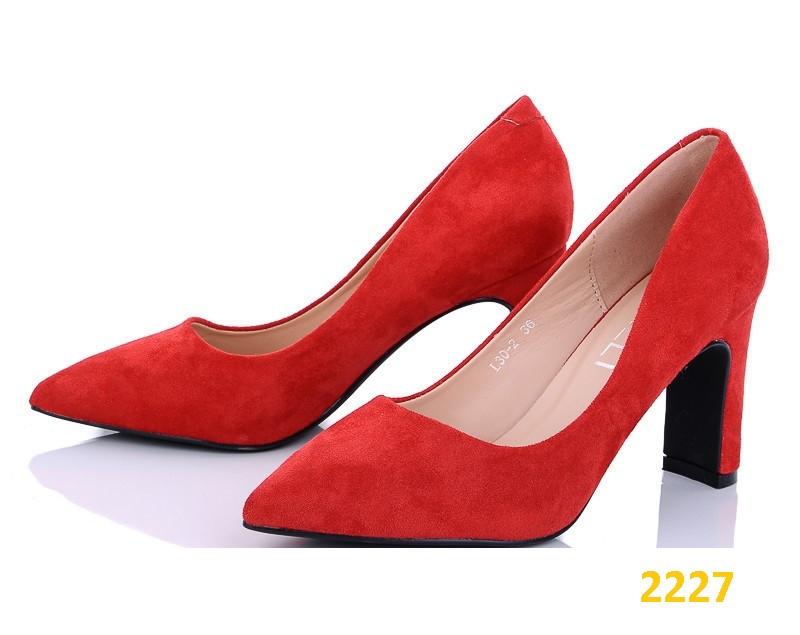 Туфли лодочки замшевые красные на широком устойчивом каблуке 36, 37 (2227)