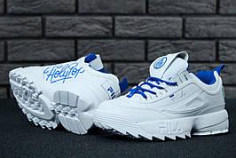 Жіночі кросівки в стилі Fila & Holypop Disruptor White\Blue Білі з блакитним