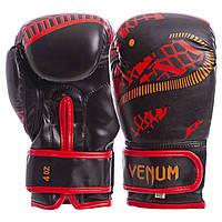 Перчатки боксерские FLEX на липучке VENUM SNAKER красно-черные VL-5795-R 6 унций