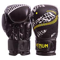 Перчатки боксерские FLEX на липучке VENUM SNAKER черные VL-5795-BK Бокс, Искусственная кожа, 6 унций