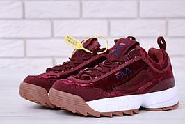 Жіночі кросівки в стилі Fila Disruptor 2 Burgundy Velours Бордові