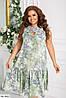 Женское летнее платье с оборкой в цветочек, большой размер!, фото 2