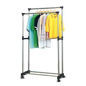 Телескопическая напольная вешалка-стойка для одежды Double-Pole Casual Hanger (339 LR)