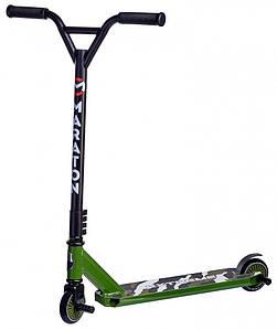 Самокат Maraton Extreme трюковый с алюминиевой рамой и пегами (Зеленый)