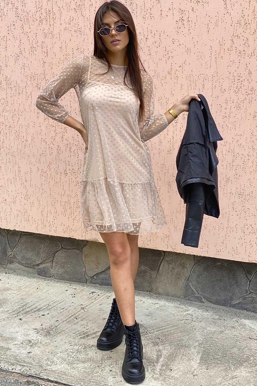 Нарядное платье-двойка с горохом на сетке LUREX - кофейный цвет, L (есть размеры)
