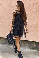 Нарядное платье-двойка с горохом на сетке LUREX - черный цвет, M (есть размеры), фото 1