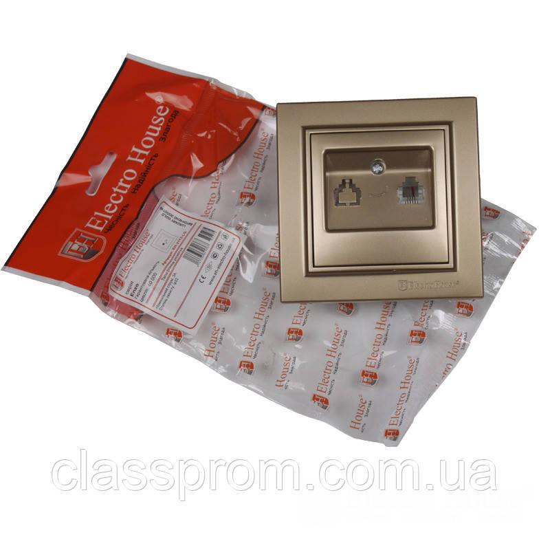 ElectroHouse Розетка телефонная  Роскошно золотой Enzo IP22