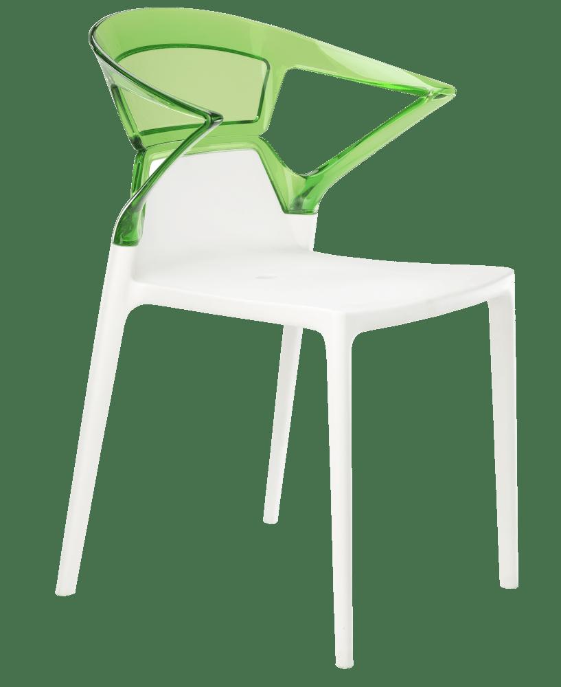 Кресло Papatya Ego-K белое сиденье, верх прозрачно-зеленый
