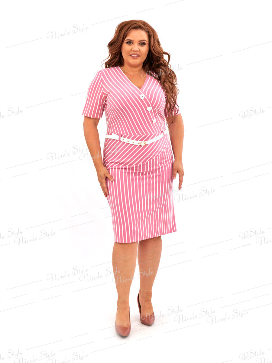 Коралловое платье в полоску 471-1 54