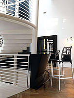 Барный стул Papatya Ego-Rock белое сиденье, верх черный, фото 3