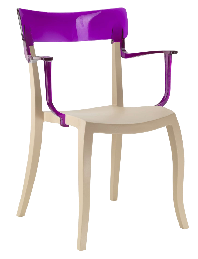 Кресло Papatya Hera-K песочно-бежевое сиденье, верх прозрачно-пурпурный