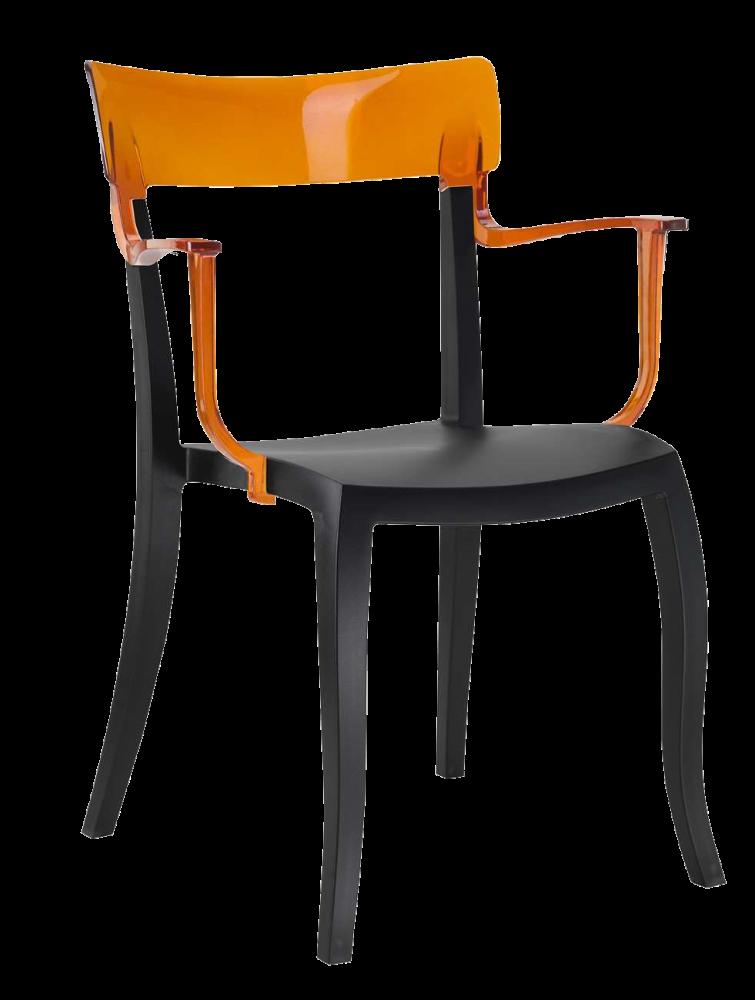 Кресло Papatya Hera-K черное сиденье, верх прозрачно-оранжевый
