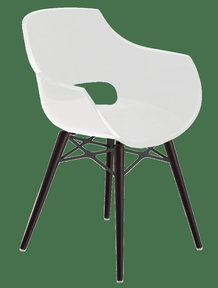 Кресло Papatya Opal-Wox белый, рама лакированный бук венге