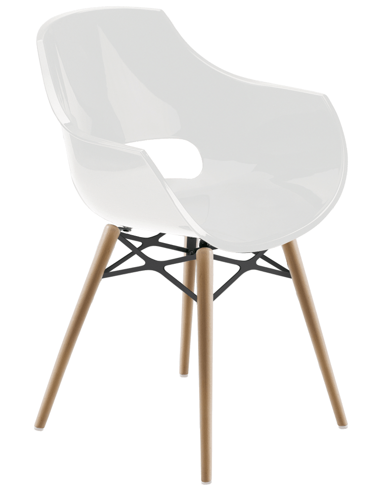 Кресло Papatya Opal-Wox белое, рама натуральный бук