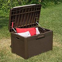Сундук пластиковый Santorini Plus 125 л коричневый с подушкой Toomax, фото 4