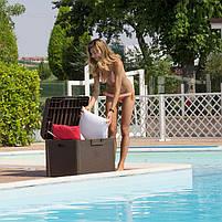 Сундук пластиковый Santorini Plus 125 л коричневый с подушкой Toomax, фото 5