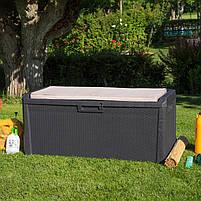 Сундук пластиковый Santorini Plus 550 л коричневый с подушкой Toomax, фото 6