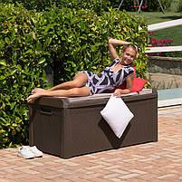 Сундук пластиковый Santorini Plus 550 л коричневый с подушкой Toomax, фото 7