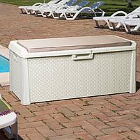 Сундук пластиковый Santorini Plus 550 л коричневый с подушкой Toomax, фото 8