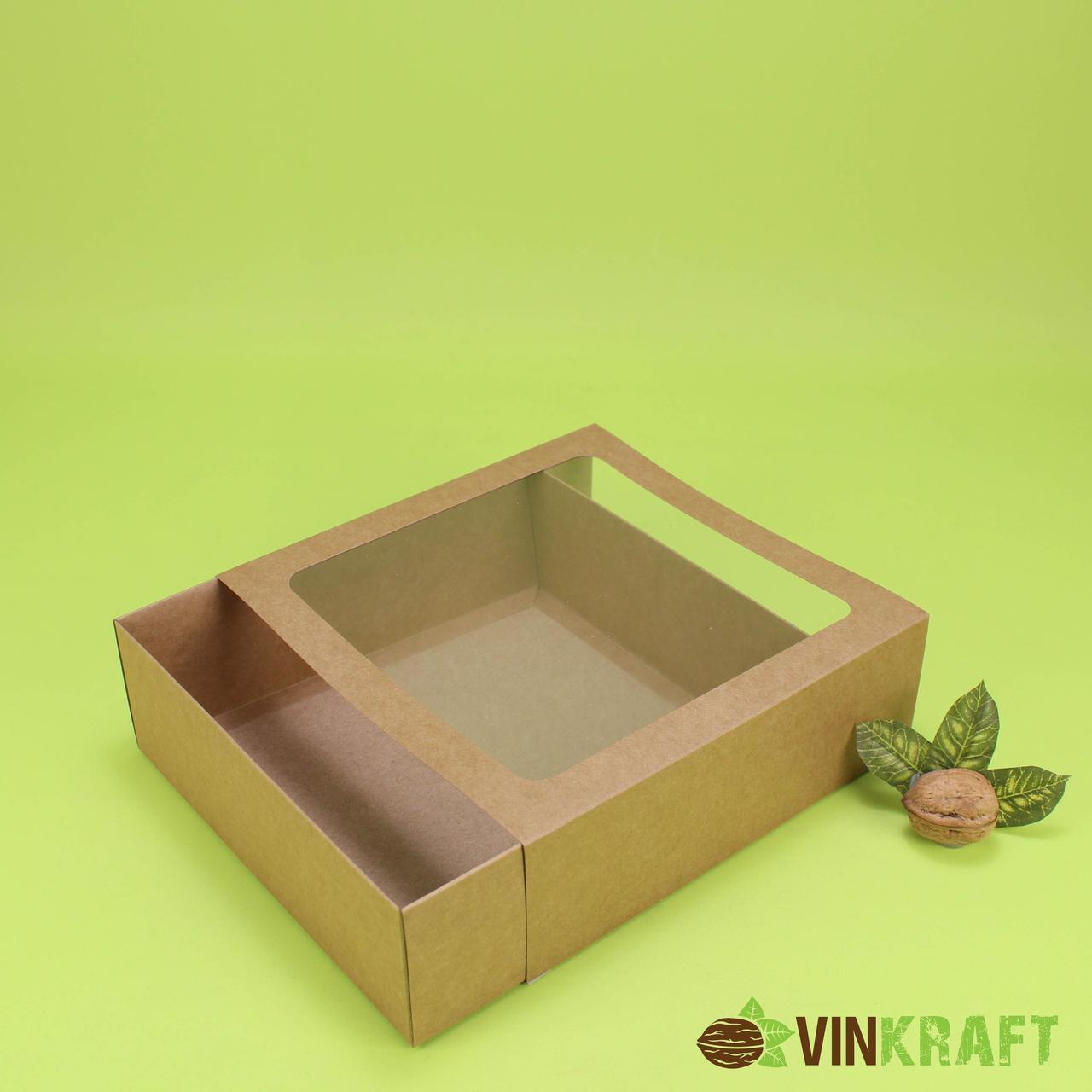 Коробка-пенал 200*200*65 для десертів з вікном, крафт