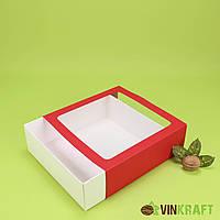 Коробка-пенал 200*200*65 для десертів з вікном, червона